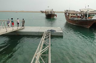 This photo gives an idea of the size of floating concrete deck installed in Chiruyeh, Persian Gulf