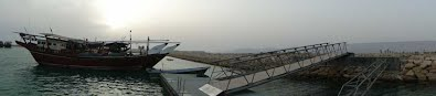Panorama view of floating concrete deck in Chiruyeh, Persian Gulf