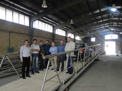 VIP delegate from Iran Fishery Organization visiting Parsian Workshop and marine-grade stainless steel gangway and truss arms for rostami fishery port, Persian Gulf