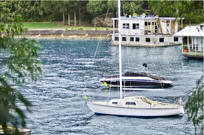 A view of the houseboat in Mosman's Pearl Bay, Australia