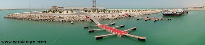 A view of Iran's 1st pair of boat floating parkings (Concrete pontoons and soft wood finger jetties), Rostami Port,Persian Gulf