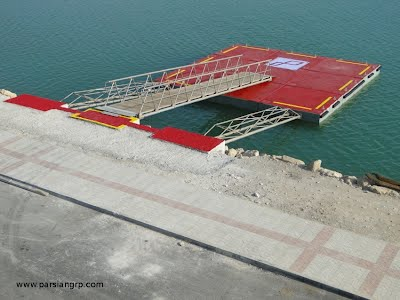 Offloading dock in Rostami port, made of 125 ton reinforced concrete pontoons with stainless steel mooring system